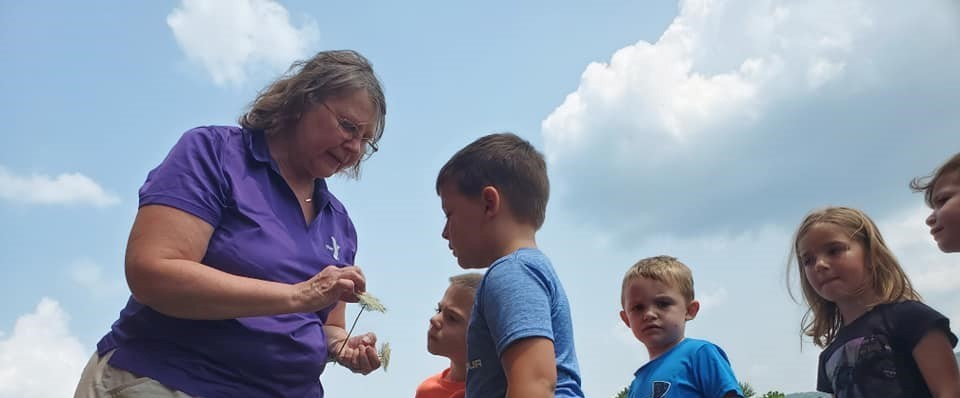 teacher showing children flower