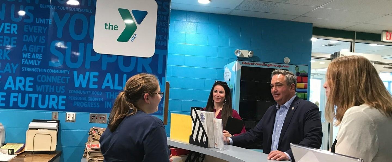 new york state senator george borrello visiting the front desk of the Olean YMCA
