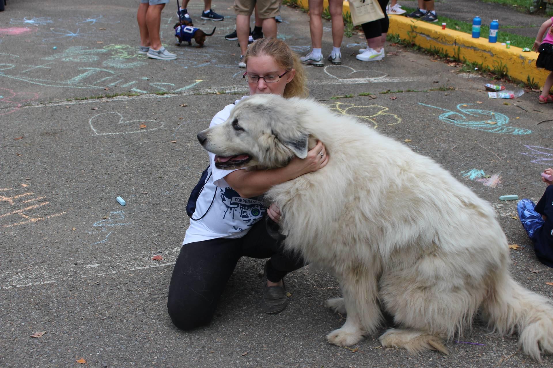 women with large dog