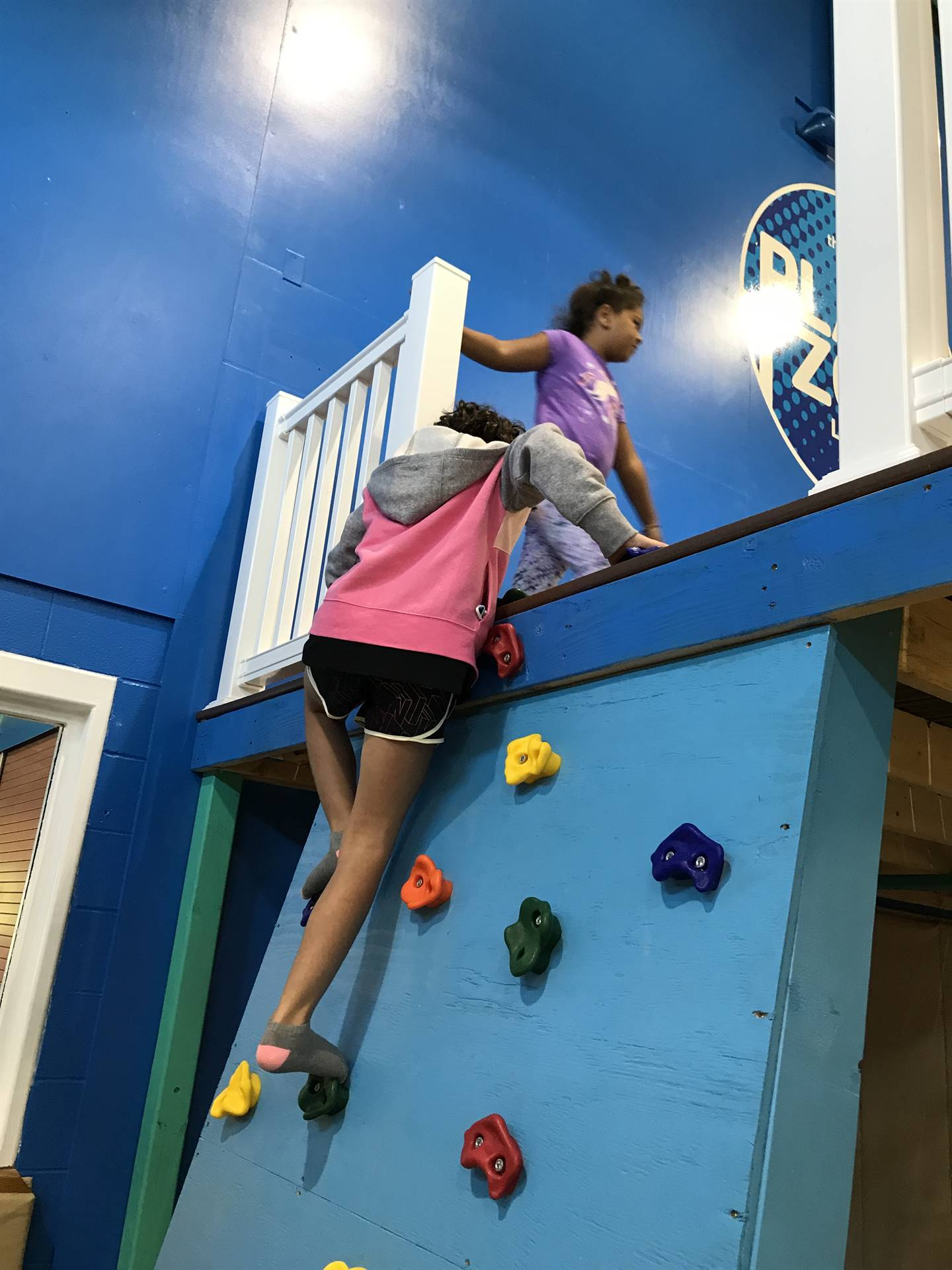 girls on climbing wall