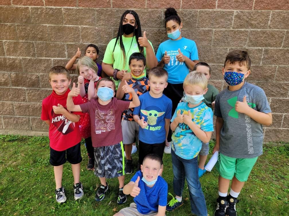 kids with child care staff