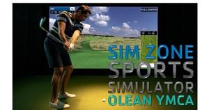 man swing golf club, text reads sim zone sports simulator olean ymca