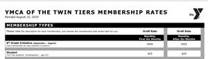 header of membership rates form